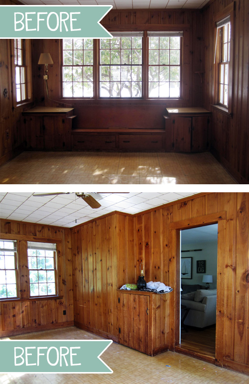 Wood Paneled Den: The 70s Called, They Want Their Knotty Wood Paneling Back