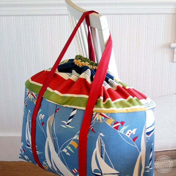 A DIY Drawstring Beach Bag - DesignLively